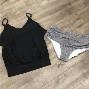 LUXE Miracle suit tankini 👙 black 2 bottoms 8/10